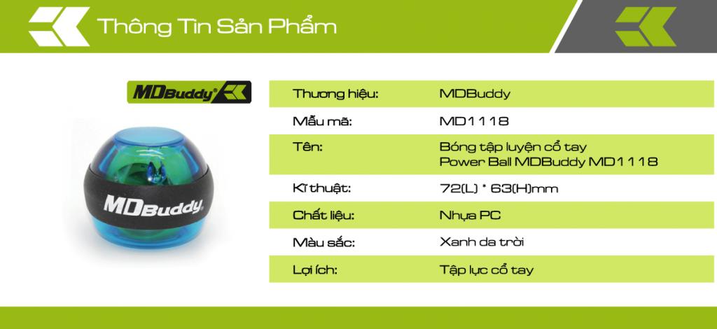 Thông tin chi tiết sản phẩm bóng tập cổ tay Power Ball MDBuddy MD1118