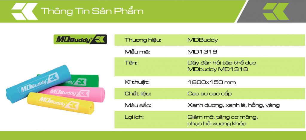 Thông tin chi tiết sản phẩm dây đàn hồi tập thể dục MDBuddy MD1318
