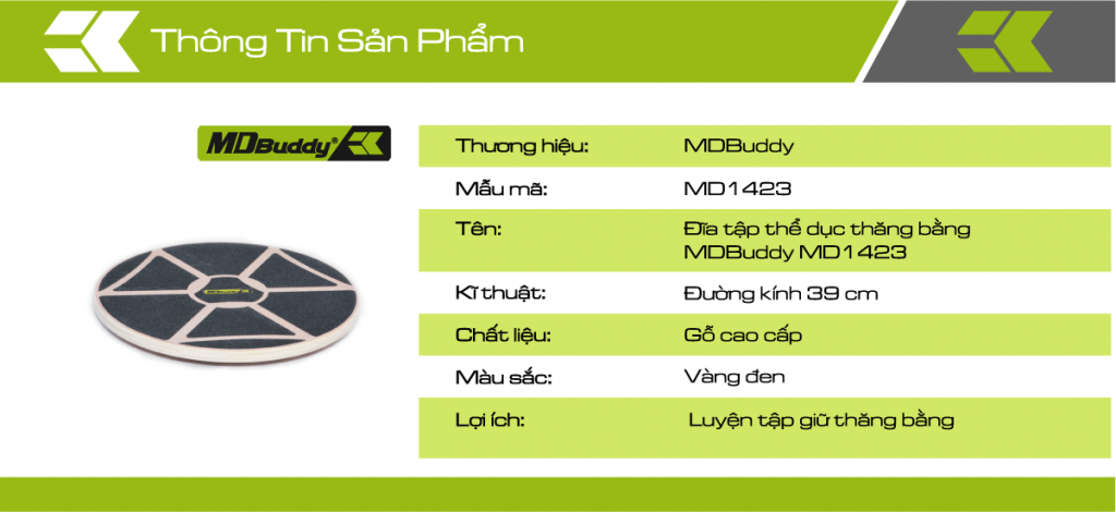 Thông tin chi tiết sản phẩm đĩa tập thể dục thăng bằng MDBuddy MD1423