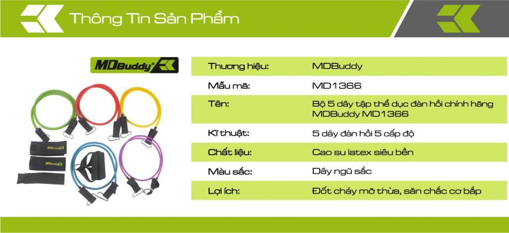 Thông tin sản phẩm bộ 5 dây tập thể dục đàn hồi MDBuddy MD1366