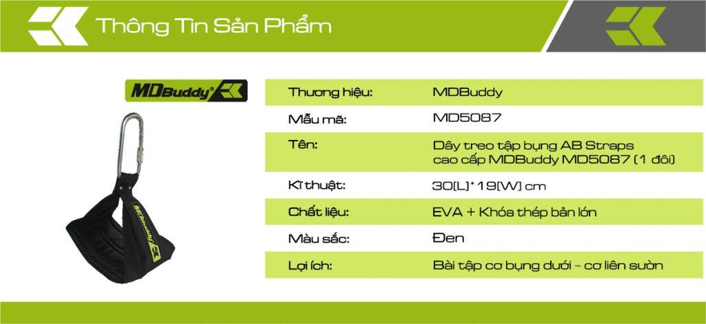 Thông tin chi tiết sản phẩm dây treo tập bụng MDBuddy MD5087