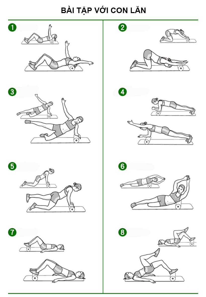 Gợi ý những bài tập với con lăn tập Yoga