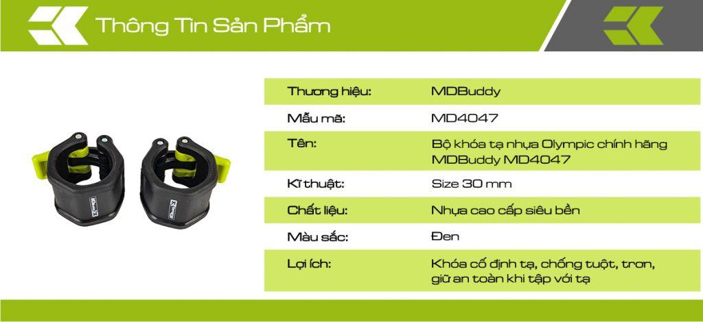 Thông tin chi tiết sản phẩm bộ khóa tạ nhựa Olympic MDBuddy MD4047
