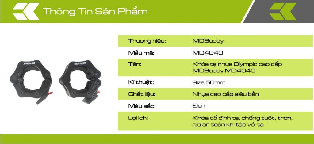 Thông tin chi tiết sản phẩm bộ khóa tạ nhựa MDBuddy MD4040