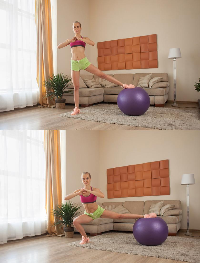 Bài tập với bóng Side Lunge