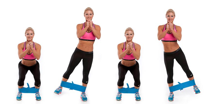 Bài tập với dây đàn hồi tập mông chân Squat to Lateral Leg Lifts